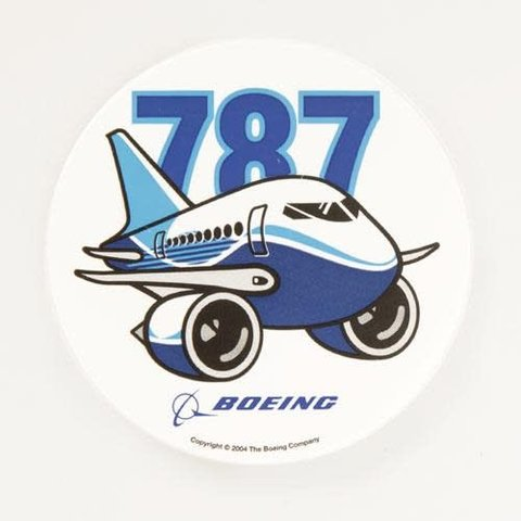 787 Pudgy Plane Sticker round 3""