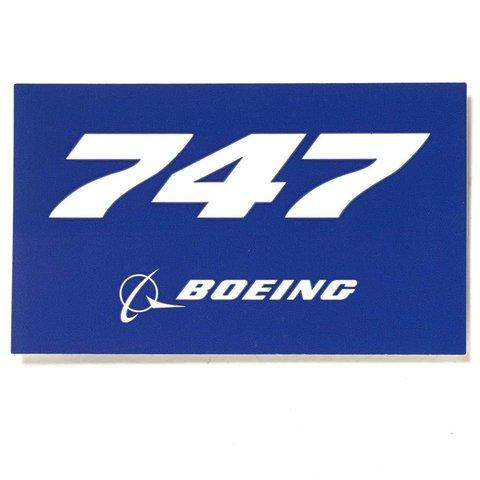 "747 Blue Rectangle Sticker 3 3/4"" x 2 1/4"""