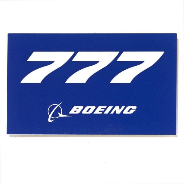 "Boeing Store 777 Blue Rectangle Sticker 3 3/4"" x 2 1/4"""