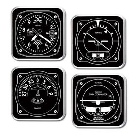 Trintec Industries Black & White Instrument Coaster 4 piece Set