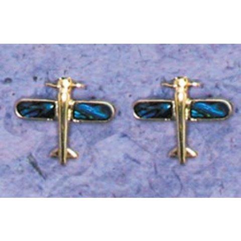 Airplane Paua Shell Post Earrings
