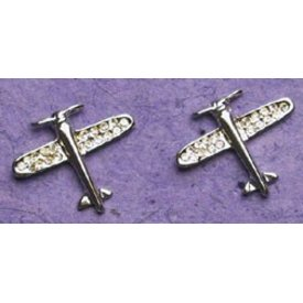 Silver Crystal Airplane Earrings