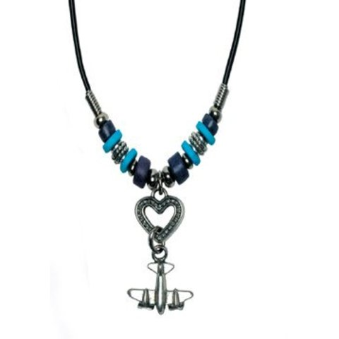 Airplane on Heart Necklace