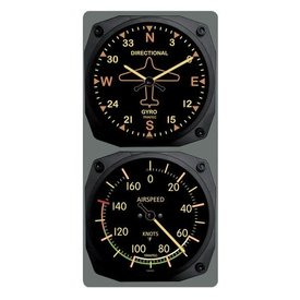 Trintec Industries Vintage Directional Gyro/Airspeed Clock & Thermometer Set