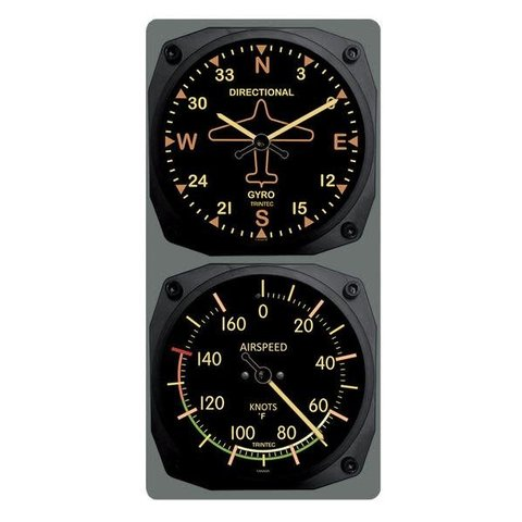 Vintage Directional Gyro/Airspeed Clock & Thermometer Set
