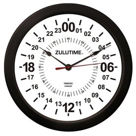 "Trintec Industries 14"" ZULUTIME™ 24-Hour Wall Clock"