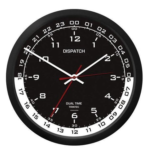 "10"" Dispatch Dual Time Wall Clock"