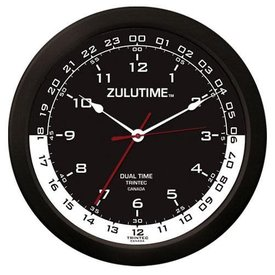 "Trintec Industries 14"" ZULUTIME Clock (Black/White Dial)"