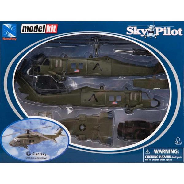 NewRay UH60 Blackhawk US Army 1:60 Prepainted Model Kit Sky Pilot