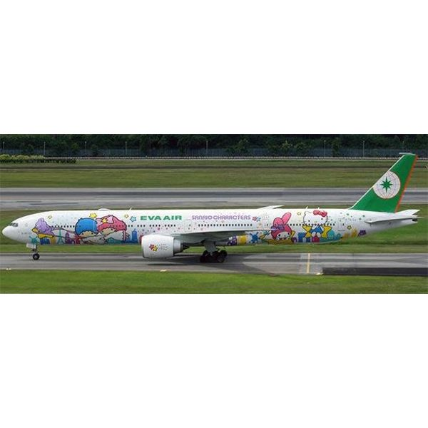 JC Wings B777-300ER Eva Air Sanrio Characters B-16722 1:400 flaps down