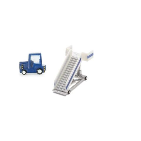 Passenger Stairs and Tractor white and blue 1:200