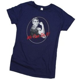 Rosie the Riveter We Can Do It Ladies T-shirt navy
