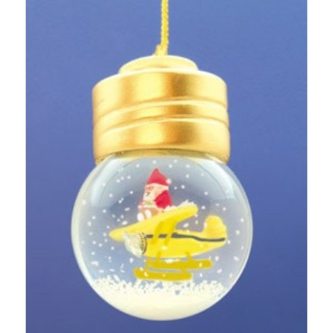 Santa on Plane in Christmas Bulb