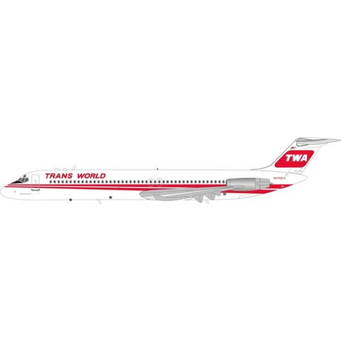 DC9-51 TWA Red Poly N416EA 1:200 with stand