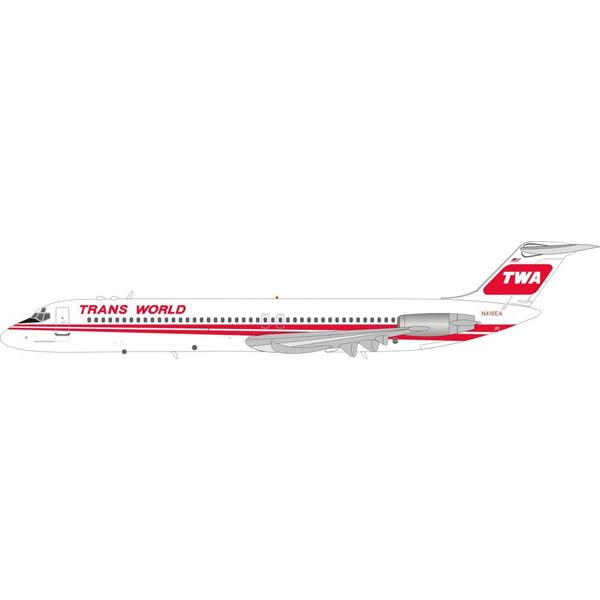 InFlight DC9-51 TWA Red Poly N416EA 1:200 with stand
