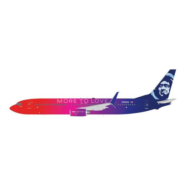 Gemini Jets B737-900ERS Alaska More to Love N493AS Scimitars 1:200 with stand