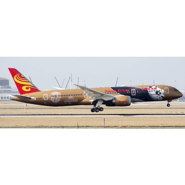 JC Wings B787-9 Dreamliner Hainan Airlines Kung Fu Panda 4 KFP4 Gold B-1343 1:200 with stand