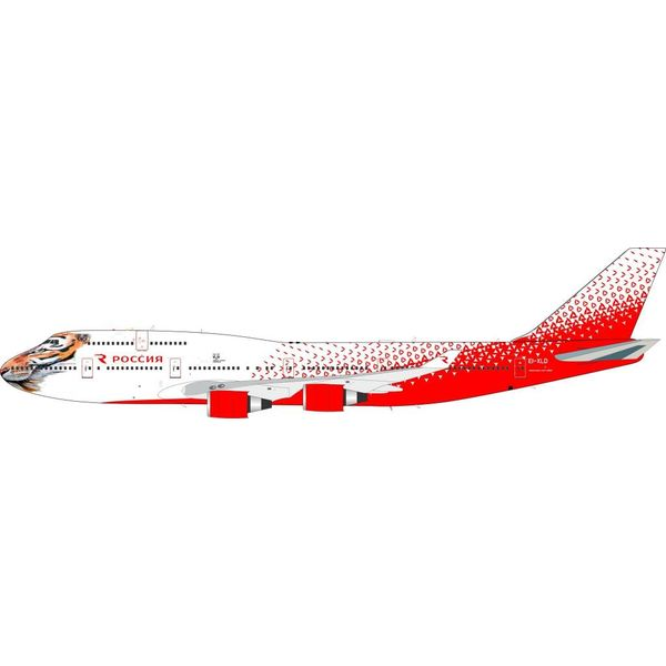 InFlight B747-400 Rossiya Russian Airlines EI-XLD Amur Tiger Centre 1:200 with stand