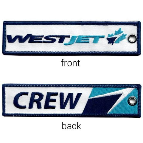 Key Chain Westjet Old Livery CREW Embroidered