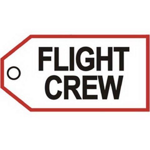 Luggage Tag Flight Crew Black Red On Whi