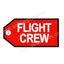 Luggage Tag Flight Crew White/Blk On Red