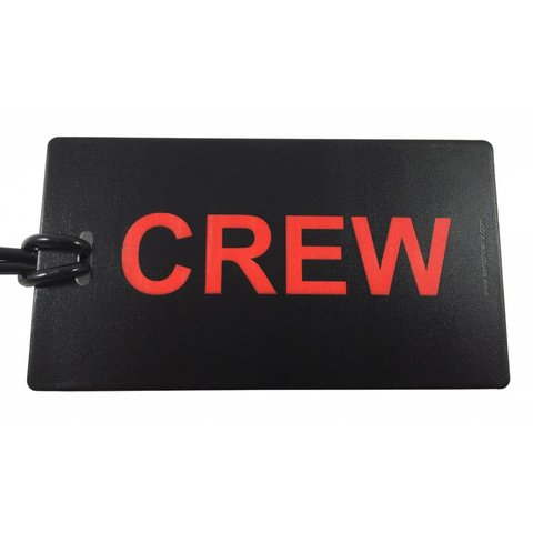 Crew Luggage Tag Red on Black With Contact Card