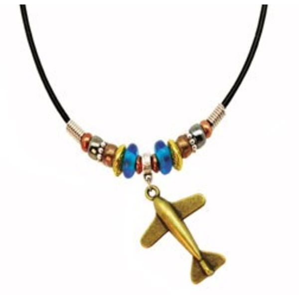 Bronze Airplane Necklace