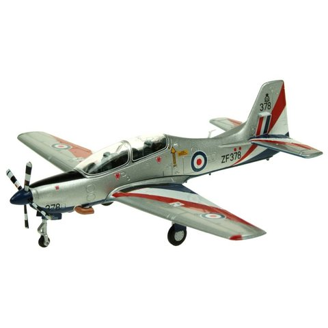 Tucano T1 Royal Air Force RAF ZF378 Silver/Red/Blue 1:72 with stand