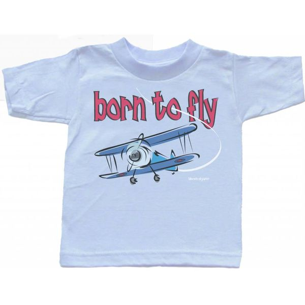 Labusch Skywear T/S BORN TO FLY BLUE TODDLR 4T