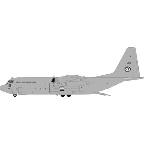 C130H-30 Hercules Malaysian Air Force M30-04 Grey 1:200 with stand