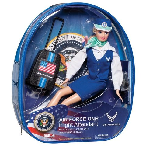 Air Force One Flight Attendant Doll with luggage and small backpack