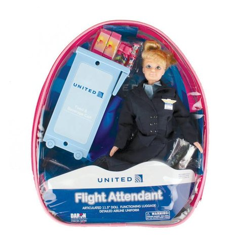 United Flight Attendant Doll with luggage (in backpack)