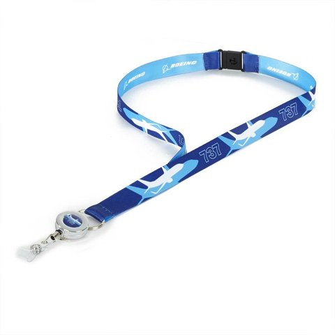 737 Shadow Graphic Blue Lanyard