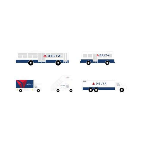 Ground Service Equipment Delta 1:200: Airstairs, Catering, Fuel Truck, Busses 1:200