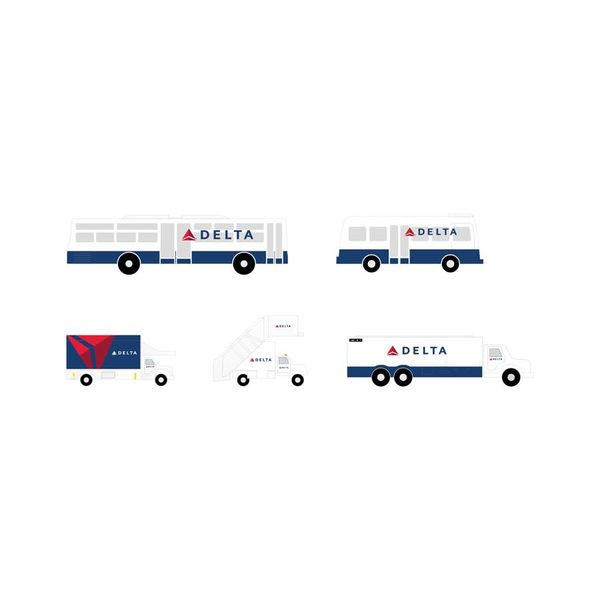Gemini Jets Ground Service Equipment Delta 1:200: Airstairs, Catering, Fuel Truck, Busses 1:200