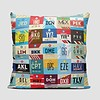 Worldwide Airports Throw Pillow