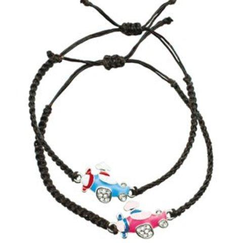 Braided Enameled Airplane Bracelet
