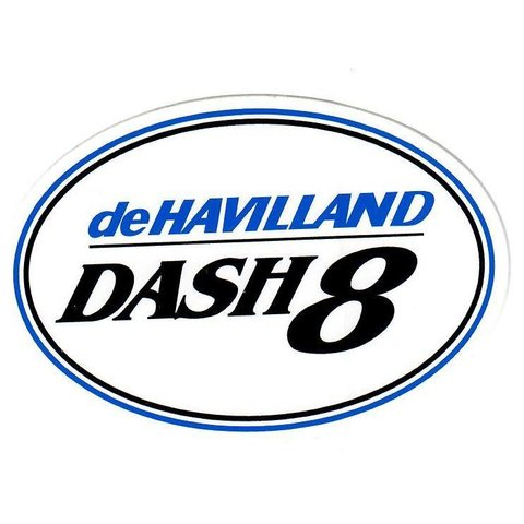 "Dehavilland Dash8 Oval White Sticker 4 3/4"" x 3 3/8"""