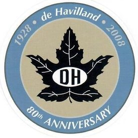 "deHavilland Dehavilland Canada 80th anniversary 2 3.4"" Inch Sticker"