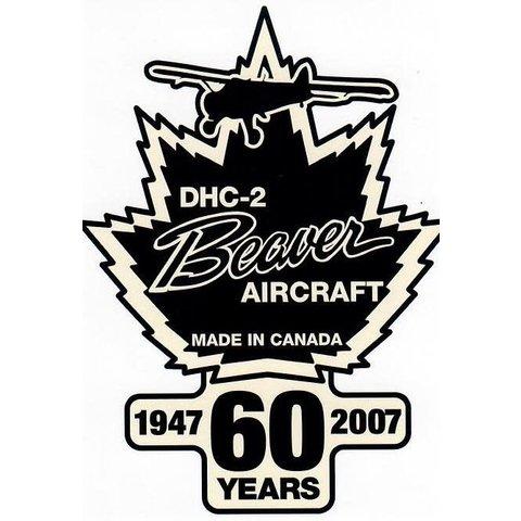 "DHC2 Beaver Aircraft 60th Anniversary Sticker 3 1/2"" x 4 1/2 """