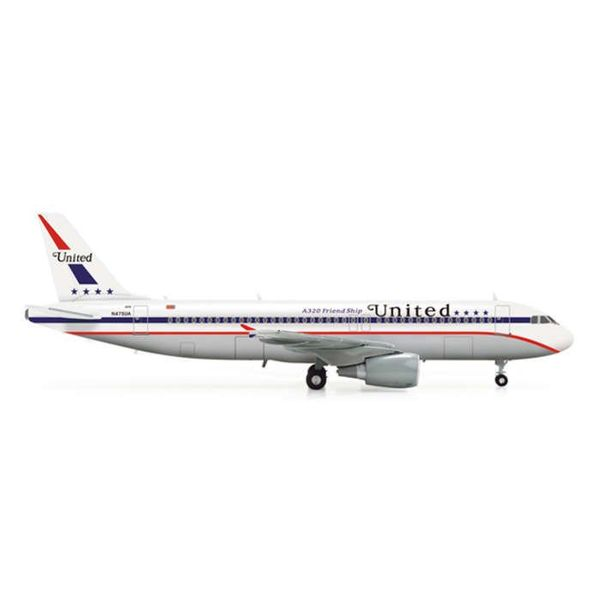Herpa A320 United Friendship Retro 85th Anniversary 1:200 with stand
