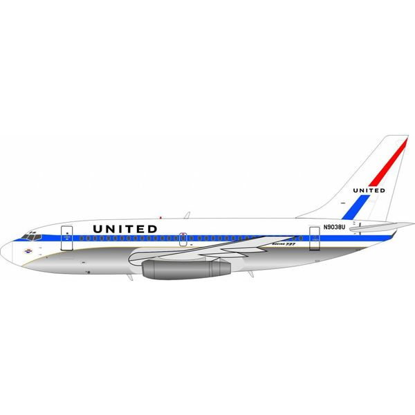 InFlight B737-200 United Airlines Original Livery N9038U 1:200 with stand