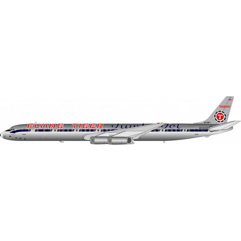 DC8-63F Flying Tigers Jumbo Jet livery N779FT 1:200 with stand polished