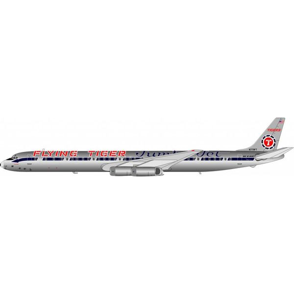 InFlight DC8-63F Flying Tigers Jumbo Jet livery N779FT 1:200 with stand polished