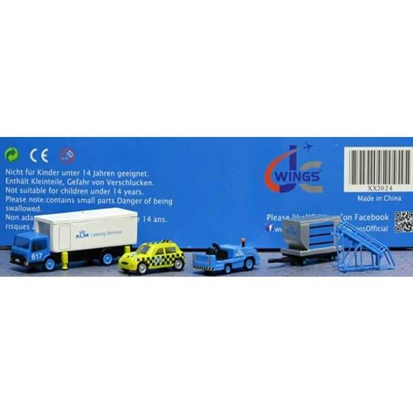JC Wings GSE KLM Set #4:Catering Truck,,Taxi,Tug,Container,Dolly,Stairs, 1:200++SALE++