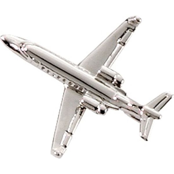 Pin Learjet 45 (3-D cast) Silver Plate