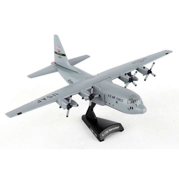 Postage Stamp Models C130H Hercules USAF AMC Little Rock AFB The Rock grey 1:200 with stand