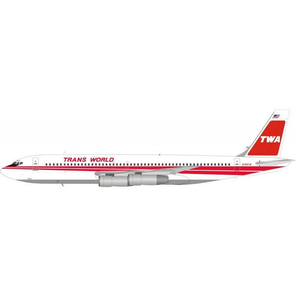 InFlight B707-131B TWA Red Poly N799TW 1:200 with stand