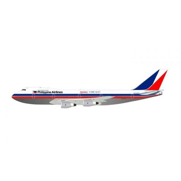 InFlight B747-200 Philippine Airlines old livery N744PR Mabuhay Chicago 1:200 Polished With Stand