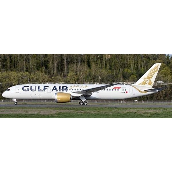 JC Wings B787-9 Dreamliner Gulf Air 2018 Livery A9C-FA 1:200 with stand